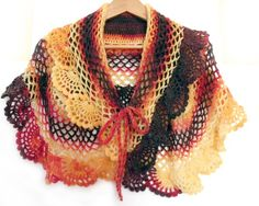 "Crochet Capelet. Lace crochet scarf shawl. Autumn cape. Fall fashion. ""Flame of Autumn"""