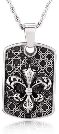 Stainless Steel Silver Gold Black Rose Gold Plated Ornate Fleur De Lis Symbol Engraved Pendant Dog Tags Men Women Necklace 24 Ball Chains