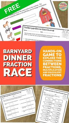 Free Fraction activity. PDL's Barnyard Fraction Race Game for Cuisenaire®️ Rods has an activity mat with worksheets to explore fractions. These activities are a platform for students to explore the relationship between fractions, multiplication, equivalent fractions and more.