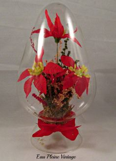 Christmas Holiday Glass Decor Red Poinsettia by EauPleineVintage