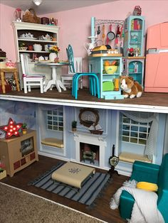 American Girls House Arts And Crafts - Modern Ropa American Girl, American Girl House, American Girl Doll Room, American Girl Furniture, American Girl Parties, Girls Furniture, American Girl Crafts, American Girl Clothes, Ag Doll House