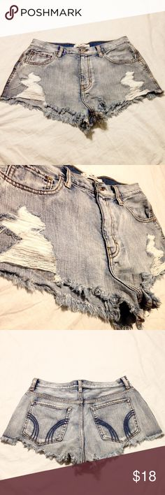 Hollister High Rise Shorts - FIRM PRICE Good condition. Worn and washed once. Got glow stick fluid slightly stained by the left back pocket (last photo). Size 9 (29) juniors. Little to no stretch. Too tight for me now. No trades or lowball offers. Hollister Shorts Jean Shorts
