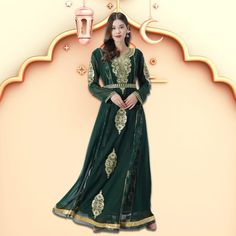 Nothing like an enchanting green ensemble to commemorate one of the most important days in the Islamic calendar. This traditional Caftan Dress with machine embroidery is just the outfit you need. Quick shipping available! Product no: 8452