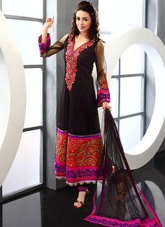 Cbazaar Beguiling Black Net Pakistani Suit