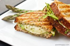 Grilled Jarlsberg with Shaved Asparagus and Arugula Pesto