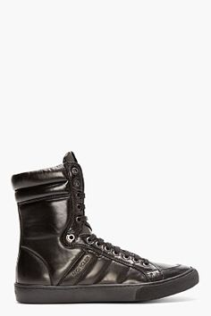 MONCLER Black Leather High-Top London Sneakers