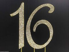 gold rhinestone sweet 16 cake topper - Google Search