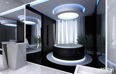 LUKSUSOWE LAZIENKI | Wnętrze luksusowego domu. Projekt sypialni i łazienki.