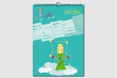 Sternzeichen Geburtstagskalender. Jeden Monat ein neuer Schatz. Kalender ohne Jahreszahl und Tagesangabe, wiederverwendbar, DIN A4, Oktober