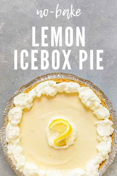 No-Bake Lemon Icebox Pie is an easy, old-fashioned southern dessert. Made with only 3 ingredients, Eagle brand sweetened condensed milk, lemon juice and cream cheese and topped with whipped cream. pies No-Bake Lemon Icebox Pie Recipe - 3 Ingredients! No Bake Lemon Pie, Easy Lemon Pie, Ice Box Lemon Pie, Lemon Cheesecake No Bake, Lemon Custard Pie, Easy Pie, Lemon Cream Cheese Pie, Cream Cheese Desserts, Cream Cheeses