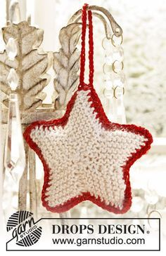 """DROPS Extra 0-873 - Stella di Natale DROPS lavorata a maglia in """"Cotton Viscose"""" e """"Kid-Silk"""". - Free pattern by DROPS Design"""