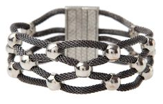 Mesh Braid Bracelet in hematite, silver and gold, mixed metal — affordable jewelry from MUSEUM OUTLETS  #affordable-jewelry