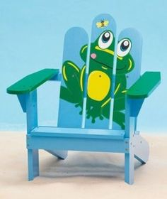 Kids' Frog Adirondack Chair is comfortable for relaxing indoors and outdoors.</STRONG></P> <UL> <LI>Child-sized chair is handpainted&nbsp;with&nbsp; Kids Adirondack Chair, Adirondack Furniture, Hand Painted Chairs, Hand Painted Furniture, Outside Furniture, Kids Furniture, Chair Design, Decoupage, Frogs