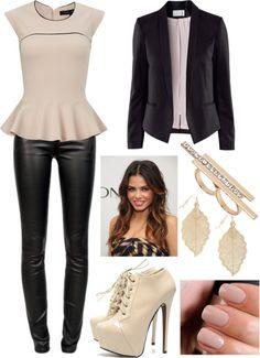 Peplum shirt, leather pants, black blazer, pumps, gold jewelry, and nude nail polish. #dreamoutfit