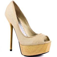 Womens Bebe Charla Platform Heels Natural Textile - ONLY $109.99