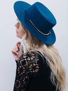 Sometimes the perfect hair day involves a hat... // Kin/K Hats Gold Bar Flat Top Hat at Free People Clothing Boutique