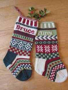 Fair-Isle Stockings II - via Knit Stockings, Knitted Christmas Stockings, Christmas Knitting, Christmas Stocking Kits, Christmas Holidays, Christmas Inspiration, Christmas Projects, Knit Crochet, Knitting Patterns