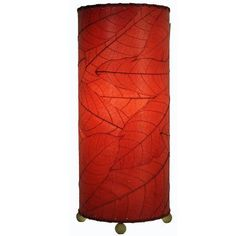 """Eangee Home Design Cocoa Leaf Cylinder 16.5"""" H Table Lamp with Drum Shade Shade Color:"""