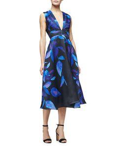 Sleeveless+Leaf-Print+Midi+Dress,+Lapis/Multi+by+Lela+Rose+at+Neiman+Marcus.