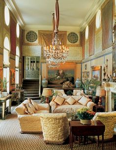 Princess Firyal of Jordan's grand salon in London (mid1980s), designed by Renzo Mongiardino