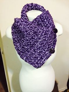 Dark purple and light purple button cowl. 5 ways to wear