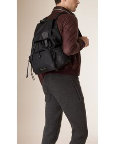 6235aa546c4 Burberry   The Large Rucksack In Technical Nylon And Leather Black for Men    Lyst Burberry