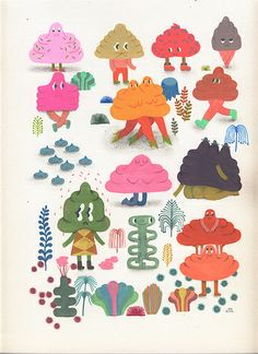 I appreciate Ginette Lapalme's whimsical, surreal, simple little characters and concepts, and the way she builds on visual themes with repetitive shapes and elements. by Ginette Lapalme