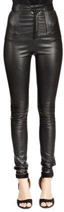 €2,956, Pantalon slim en cuir noir Givenchy. De Neiman Marcus. Cliquez ici pour plus d'informations: https://lookastic.com/women/shop_items/139901/redirect