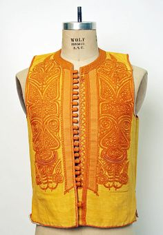 Embroidered man's vest (inner bodice). From the Balkans, 19th century. Silk embroidery on silk.  (Met Museum, N.Y.).