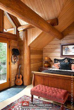 Second Story Bedroom   Custom Log Home   PrecisionCraft Log Homes by PrecisionCraft Log Homes & Timber Frame, via Flickr