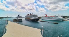 The Norwegian Sky, the Disney Dream, and the Carnival Fantasy are anchored at the harbour of Nassau!