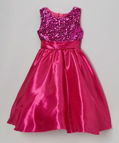Fuchsia Sequin Satin Dress - Toddler & Girls by Kid Fashion #zulily #zulilyfinds