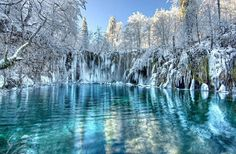 Frozen Plitvice Lakes - the beauty is this photo takes my breath away ..  I would see and experience this on on one of mu awesome adventures