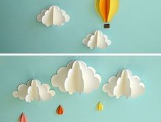 Hot Air Balloon Wall Decal, Paper Wall Art, Wall Decor, Wall Art Emet's room wall art — clouds ranging from 4 inches to 8 inches in width and two hot air balloons measuring 5 x 6 inches and x 5 inches. Paper Wall Decor, Diy Wall Decor, Paper Decorations, Diy Decoration, Art Decor, Creative Wall Decor, Creative Art, Balloon Wall, Air Balloon