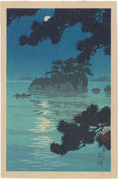 <em>Matsushima in the Moonlight  </em>. Kawase Hasui (1883-1957); Japan, 1930s. Woodblock print; ink and color on paper; H: 14.5 W: 9.3 cm. Arthur M. Sackler Gallery, Robert O. Muller Collection S2003.8.1034