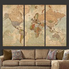 Vintage Push Pin Travel Map of World