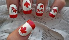 Great Canada Day nail art