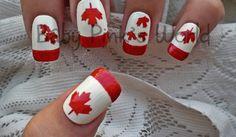 Great Canada Day nail art