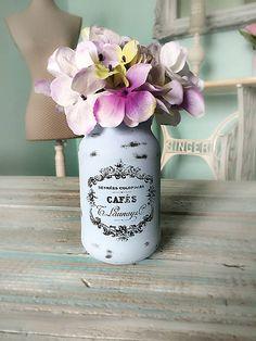 Nanka_NK / Modrá Vintage sklenená dekorácia váza