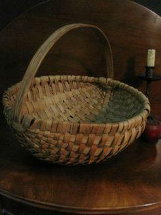 Antique 1800s New England Large Black Ash WOVEN Splint Gathering BASKET AAFA #NaivePrimitive