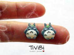 Totoro stud earrings by TiViBi on Etsy, €10.00
