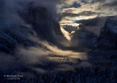 Yosemite Valley illuminated by the rising moon, Yosemite NP, CA, USA