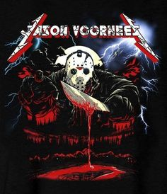 Jason Voorhees, Metallica style 1980s Horror Movies, Horror Films, Scary Movies, Jason Friday, Friday The 13th, Arte Horror, Horror Art, Scary Characters, Slasher Movies