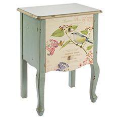 Dieser Nachttisch besticht durch seine florale Verzierung und sorgt für femininen Landhaus-Charme neben Ihrem Bett. Auf dem Top findet eine Vase mit duftend...