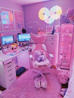 Cute Room Ideas, Cute Room Decor, Neon Room, Pink Room, Pastel Room, Room Design Bedroom, Girl Bedroom Designs, Kawaii Bedroom, Gaming Room Setup