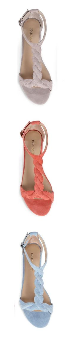 Suede mini wedge with braided front and T-strap.