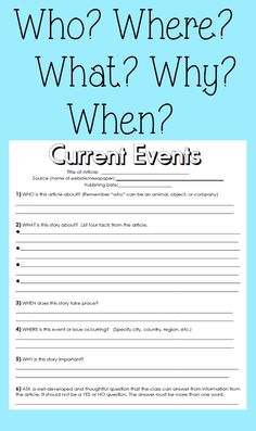 Cnn Students News Worksheet Current events Handout Pack with Images 6th Grade Social Studies, Teaching Social Studies, Teaching Tools, Teaching Resources, Reading Skills, Teaching Reading, Learning, Current Events Worksheet, Middle School