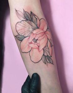 Tattoo forearm tattoo design, forearm tattoos, pink flower tattoos, c Forearm Tattoo Design, Forearm Tattoos, Body Art Tattoos, Sleeve Tattoos, Shape Tattoo, Pretty Tattoos, Beautiful Tattoos, Cool Tattoos, Awesome Tattoos