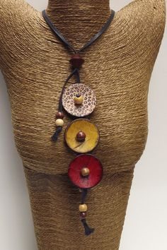 Button Necklace Button Jewelry Button by PommeRoseJewellery, $20.00...love the jute bust great idea for my ethnic pcs.