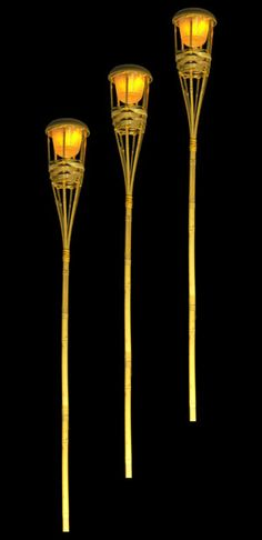 LED Battery Operated Bamboo Flickering 60 in. Tiki Torches $20 each / 4 for $17 each